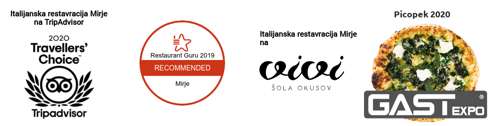 Nagrade in ocene gostov Italijanske restavracije Mirje